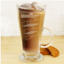 Personalised Heart Banner Latte Glass P0107C29